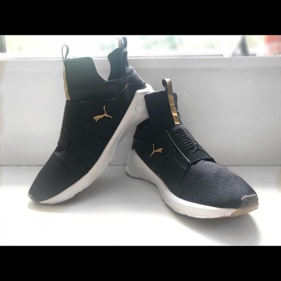 PUMA Women s Fierce Mid Sneakers    Black   Gold. M 5b7ef6a074359bef1ff4027a 5497f13a1